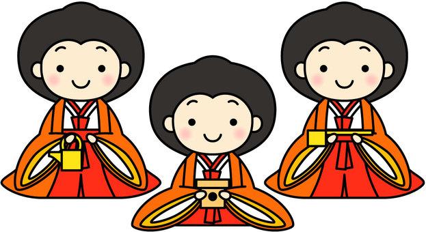 Three officials of hina dolls