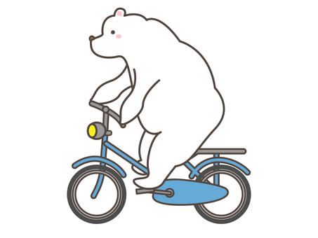 White bear sitting on a bicycle