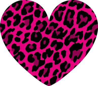 Heart _ leopard handle _ larger _ pink