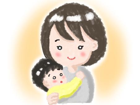 媽媽抱著一個嬰兒