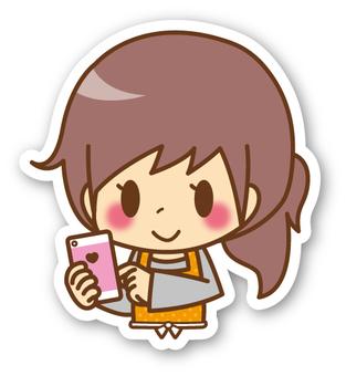 【Seal】 Female * Apron _ smartphone