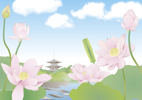 Tower _ Distant view _ Summer lotus pond