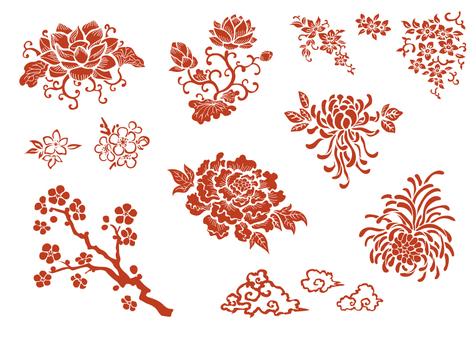 中華花柄セット素材