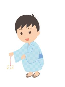 Boys | Yukata | Festivals | sparklers fireworks