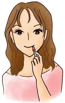 여자와 립스틱