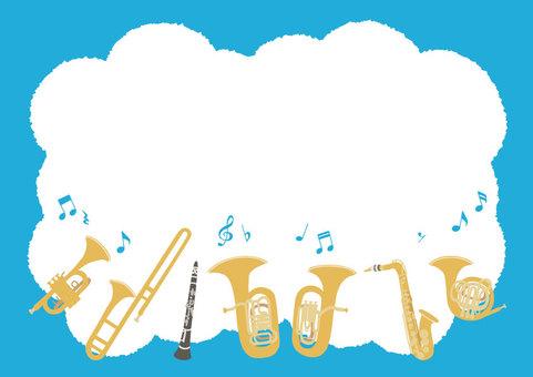 【背景】吹奏楽 楽器 フレーム イラスト