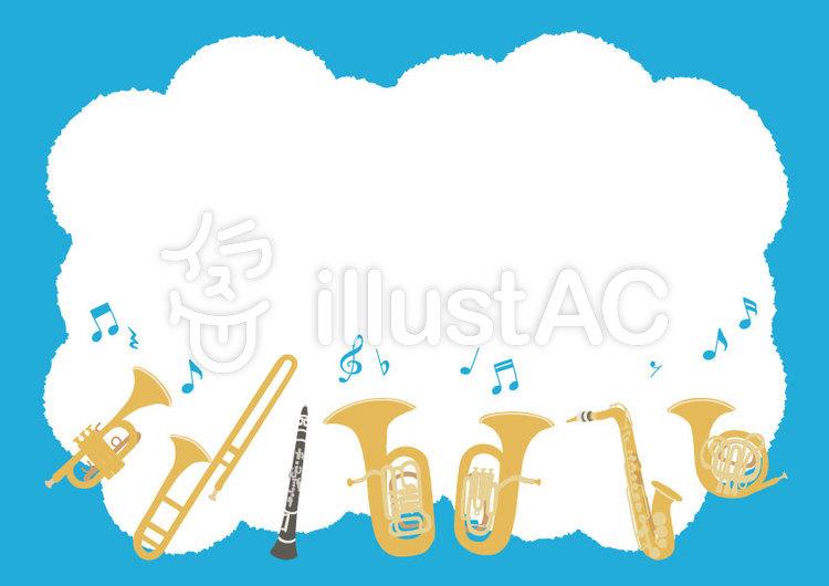 【背景】吹奏楽 楽器 フレーム イラストのイラスト