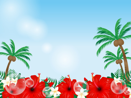 Hibiscus and palm tree background