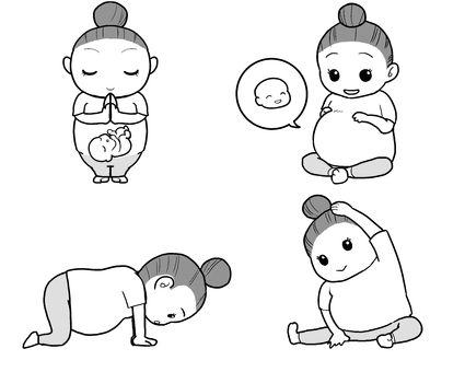 Maternity yoga (monochrome)
