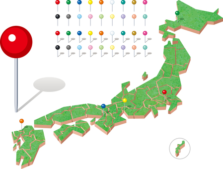 Japan map 3-D prefectural map pin