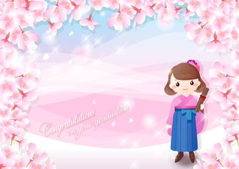 Sakura and Hakama graduation ceremony