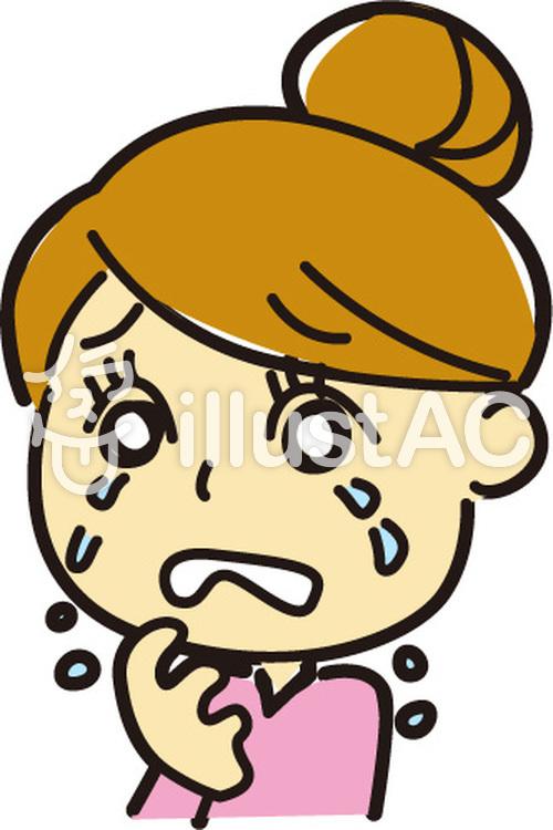 お団子の女性-泣くのイラスト