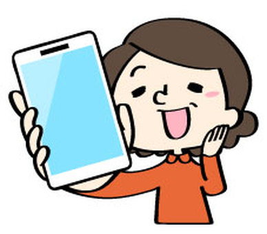 Senior chiyo rejoicing with smartphone