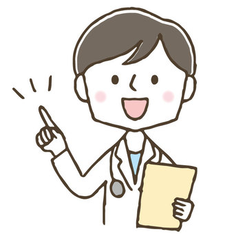 Cute male doctor pointing / hand drawn