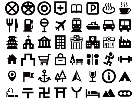 Map sign icon set