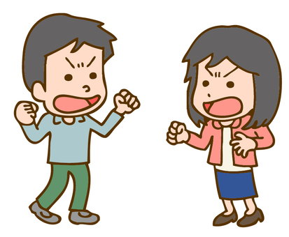 男人和女人的插圖戰鬥