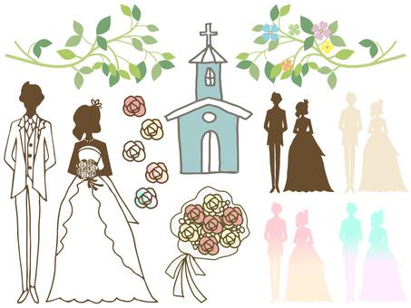 Hand-drawn illustration set for wedding ceremony