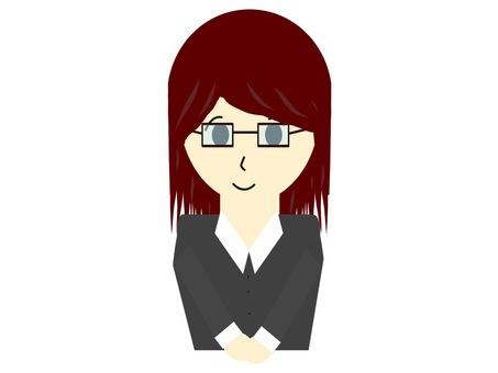 受付嬢風の眼鏡をかけたスーツの女性