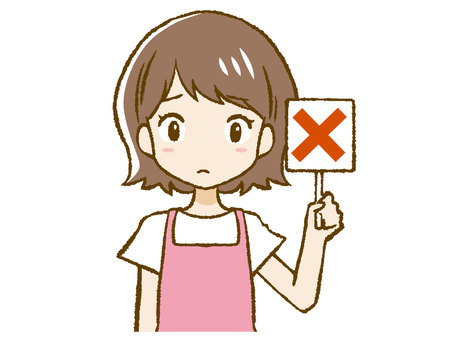 Apron woman giving a cross sign ① (Up)