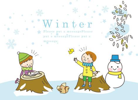 Boys enjoying winter