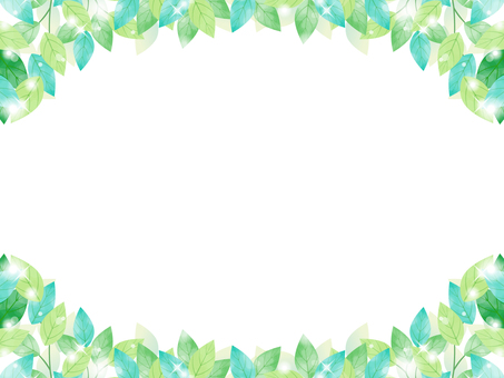 Fresh green / watercolor breeze frame 03 / transparent PNG
