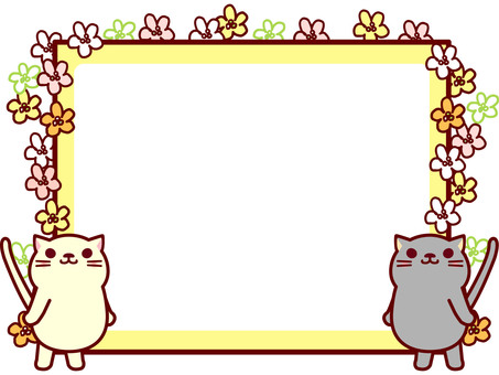 Cat frame full of flowers