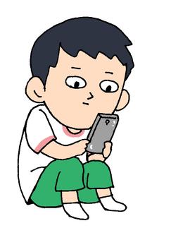 Smartphone dependent boy