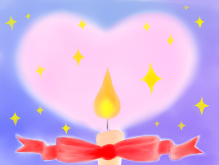 Candle heart light and ribbon