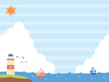 夏の海の風景イラスト