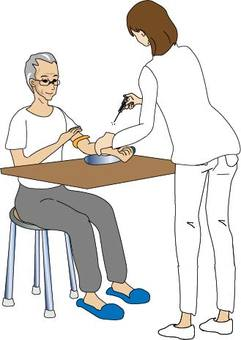 Elderly man whose blood is collected