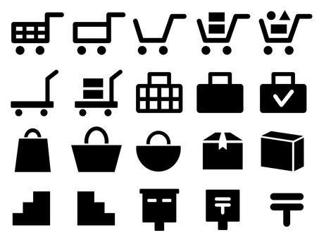 Shopping related icons such as shopping cart