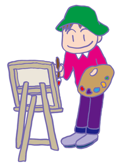 A man drawing a picture