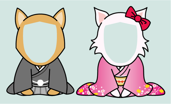 For new year's cards _ Kimono's dog face fit _ part 2