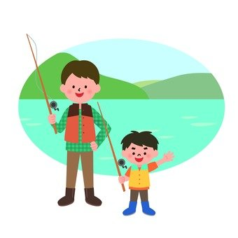 Fishing parent and child