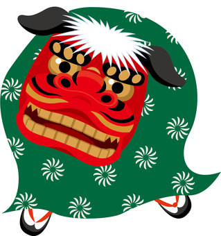 New Year's card material Lion dance
