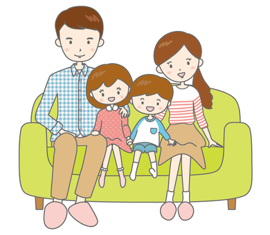 Smile with parent and child four people sofa