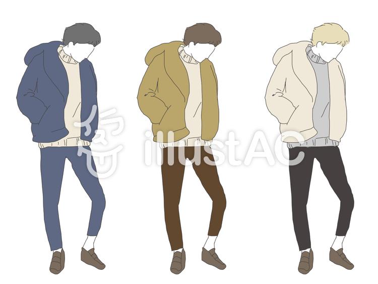メンズファッション(冬)イラスト , No 985709/無料イラスト