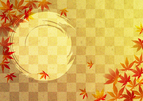 Red leaves _ plaid _ gold foil background 2268
