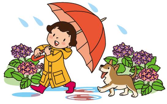 Umbrella, puppy, girl, hydrangea