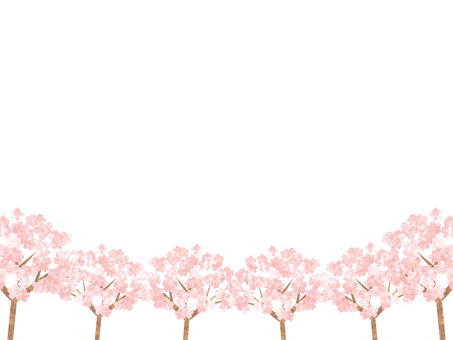 Cherry blossom trees (watercolor style) frame