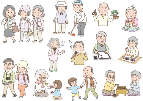 Elderly people lively hobby activities