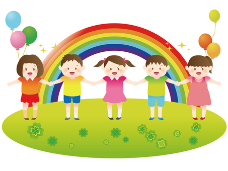 Rainbow with children