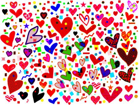 Heart and confetti