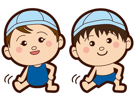 초등학생 - 수영장 - 수영복 - 남녀 - 체조 - 준비 운동