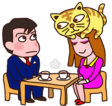 Girl wearing a cat at a date