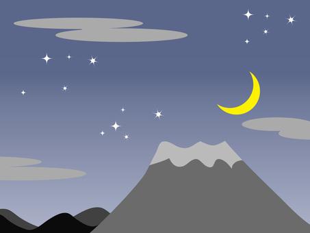 Fuji and crescent moon