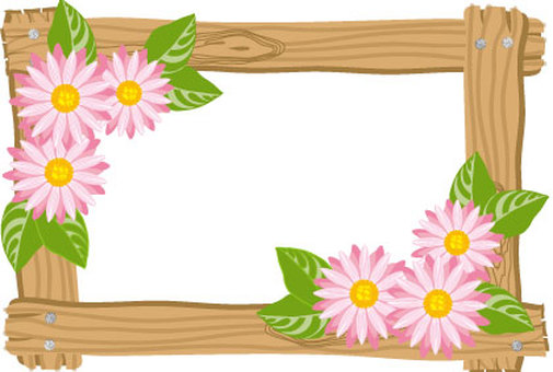 Wood frame with woodgraining and frame of flower of chrysanthemum
