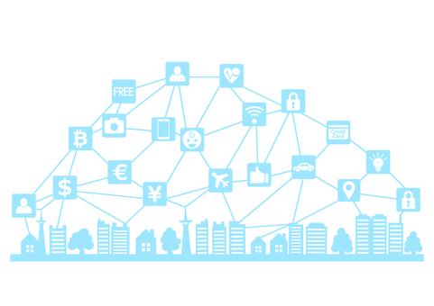IoTとスマートシティアイコンシルエット