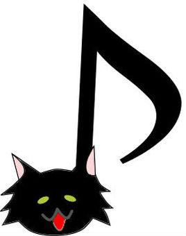 黒いモフ猫の音符