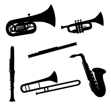 Wind instrument silhouette set